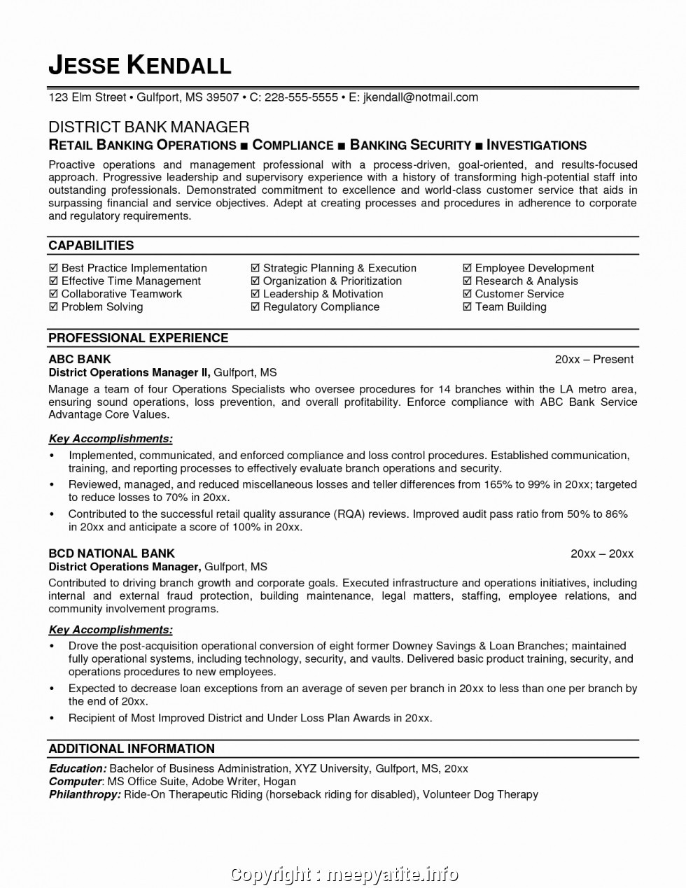 simple operations manager bank resume