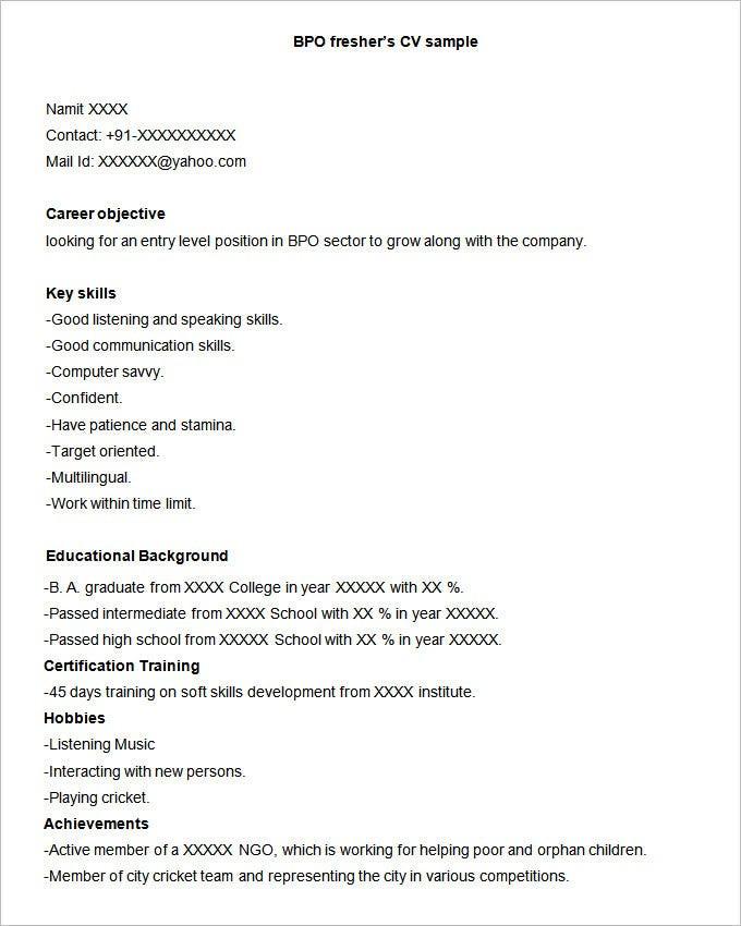 Sample Resume for Bpo Fresher Download 38 Bpo Resume Templates Pdf Doc