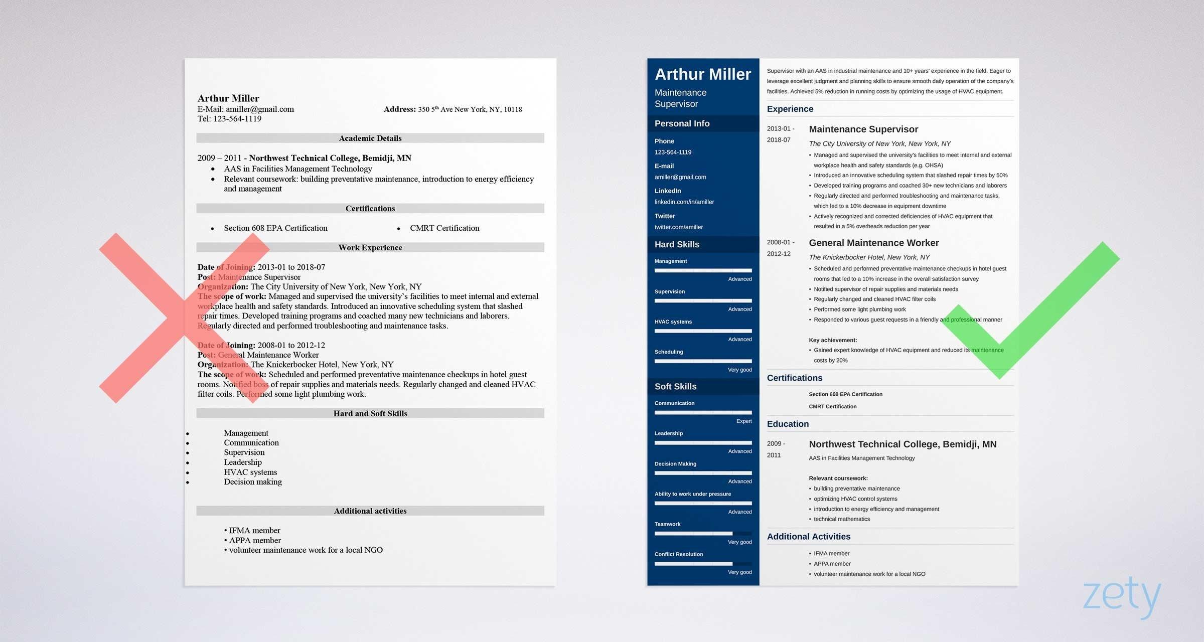 maintenance resume example