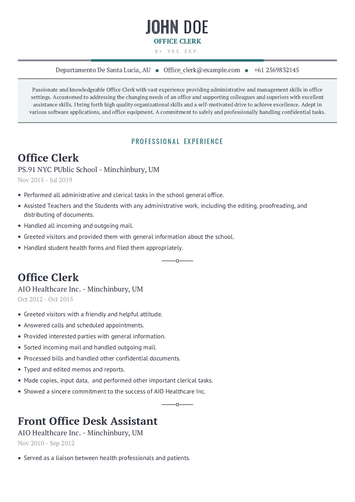 Sample Resume for Clerical Office Work Office Clerk Resume Example with Content Sample Craftmycv