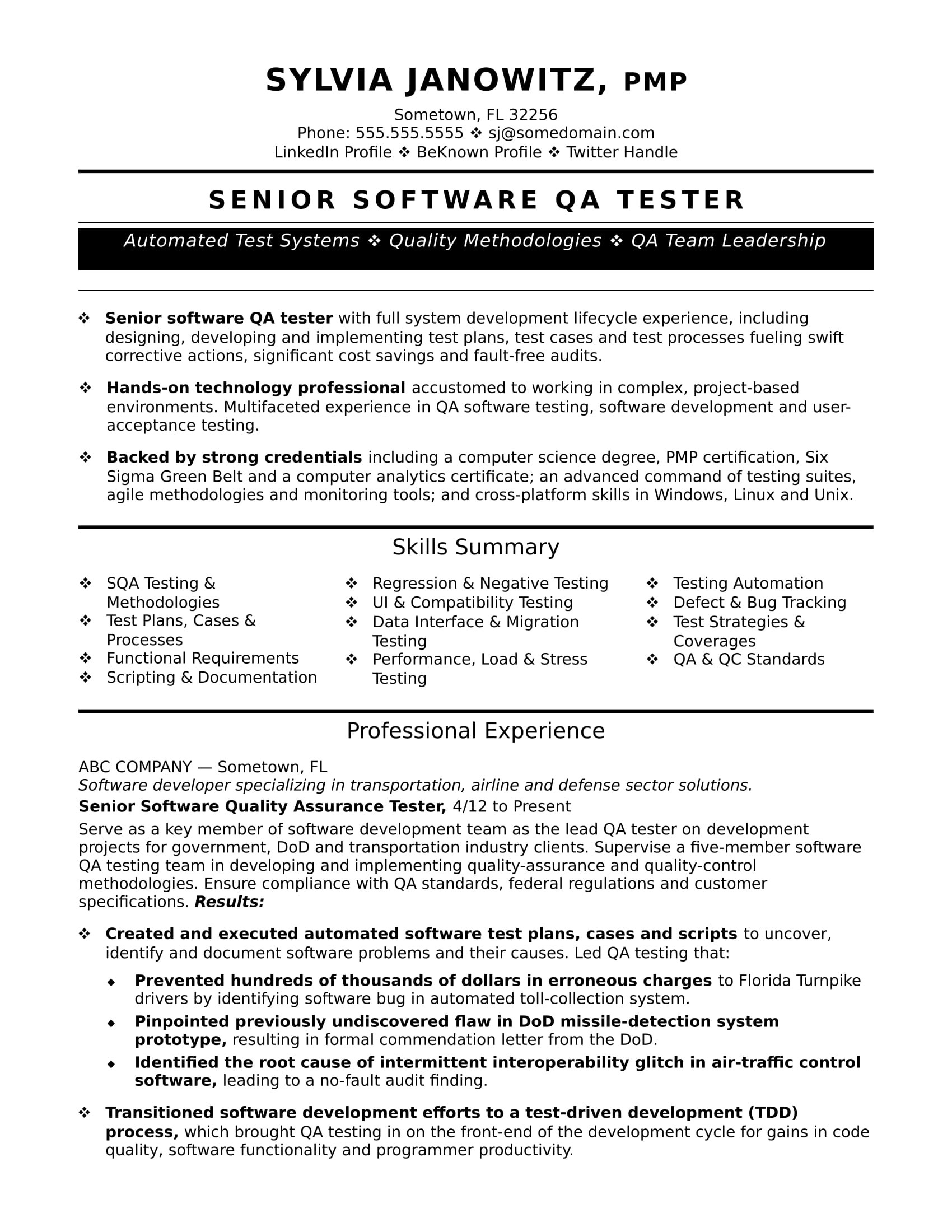 sample resume qa software tester experienced