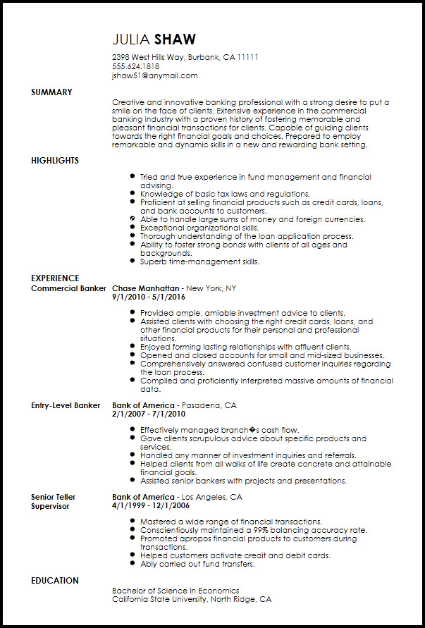 resume for experienced banking