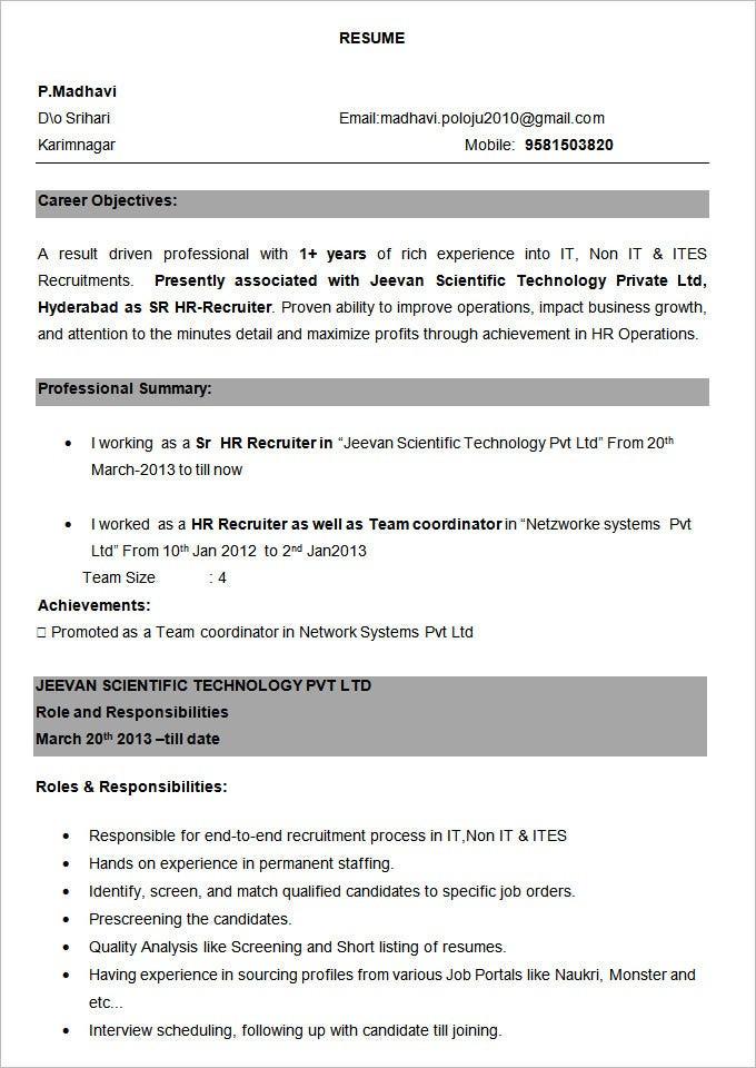 Sample Resume for Experienced Candidates In Bpo 38 Bpo Resume Templates Pdf Doc
