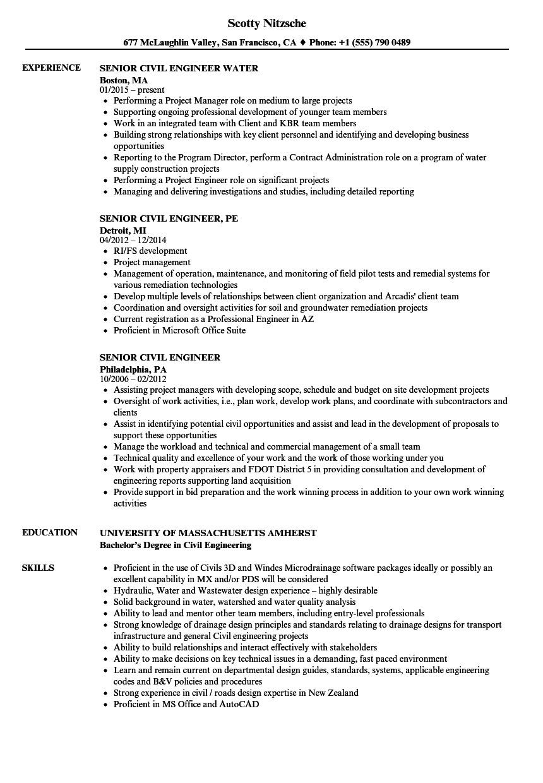 senior civil engineer resume sample pdf