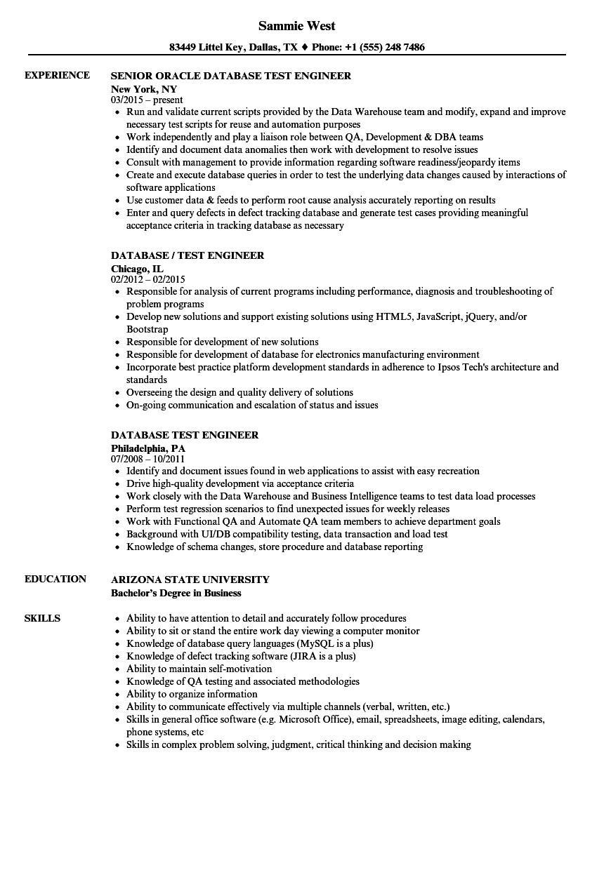 Sample Resume for Experienced Database Test Engineer Database Test Engineer Resume Samples
