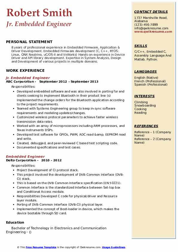 Sample Resume for Experienced Embedded Engineer Embedded Engineer Resume Samples