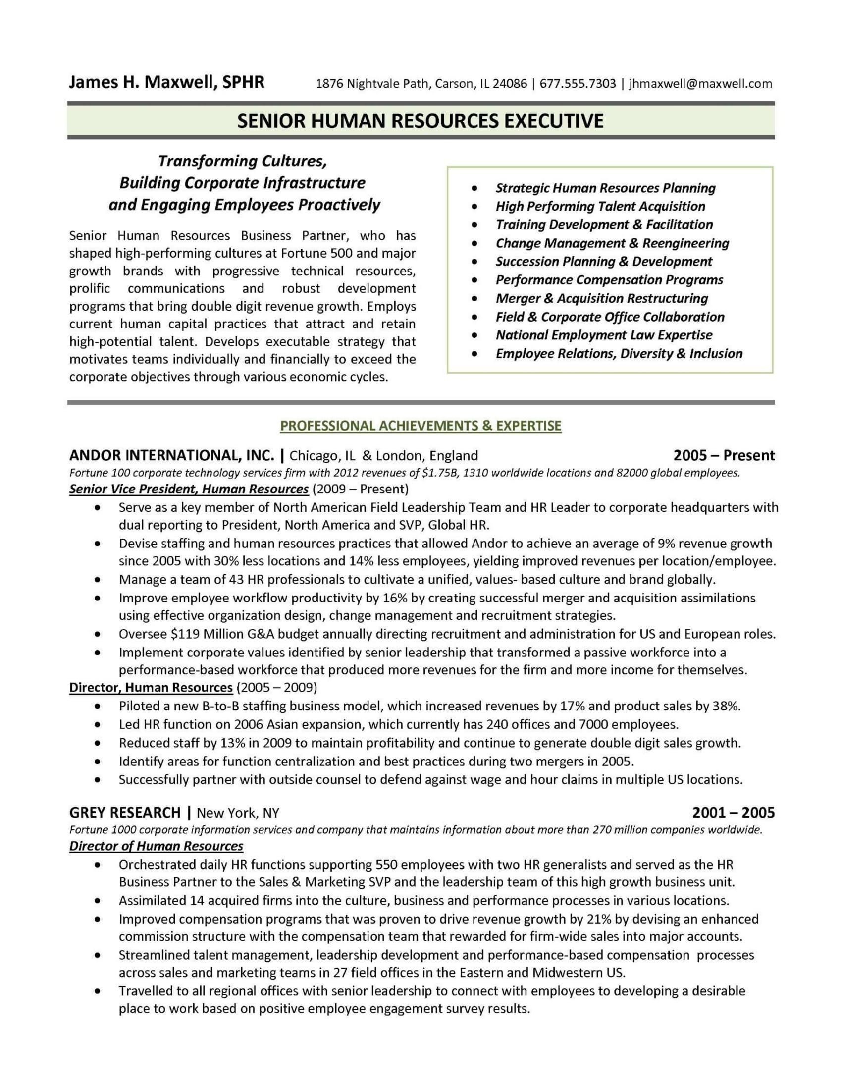 hr resume templates
