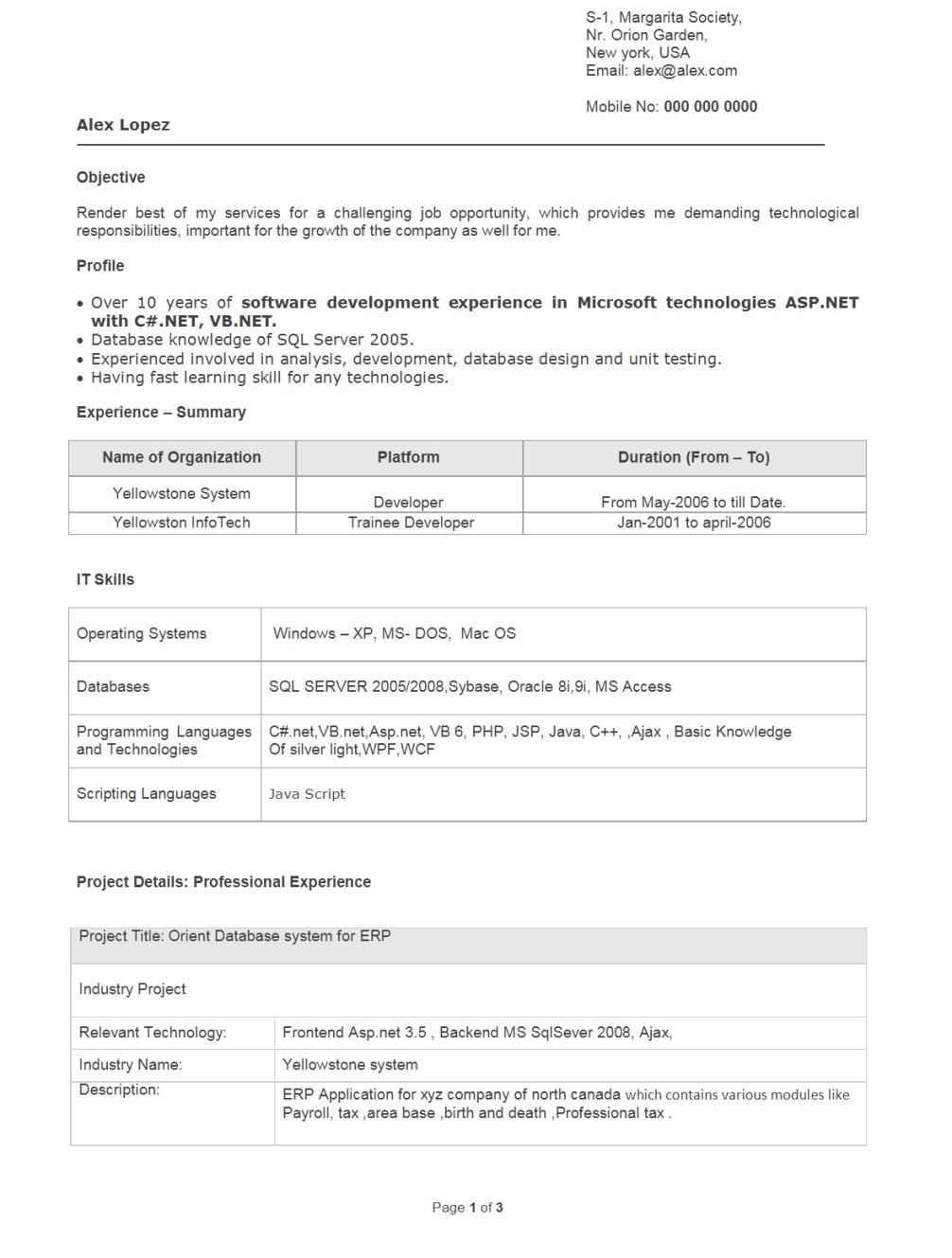 resume sample for fresh graduate