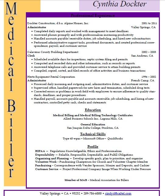 medical billing and coding resume sample