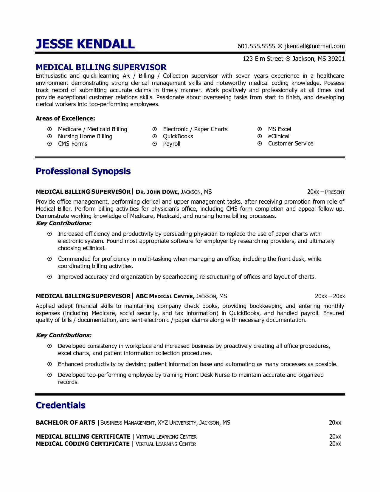 Sample Resume for Medical Coding and Billing 11 Medical Billing Resume Example Collection
