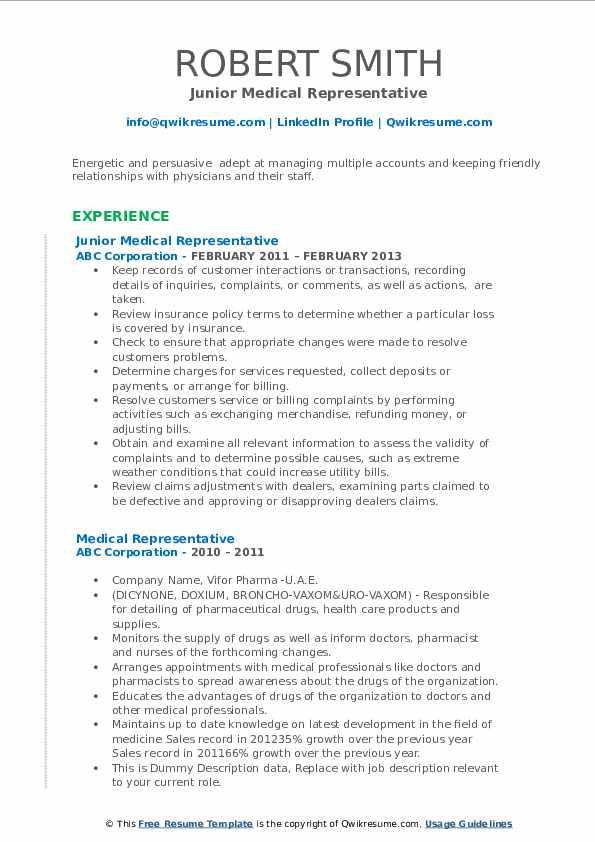 Sample Resume for Medical Representative Applicant Medical Representative Resume Samples