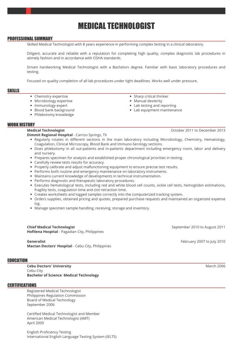 sample resume for nurses medical technologist caregiver radiologic technologist philippines