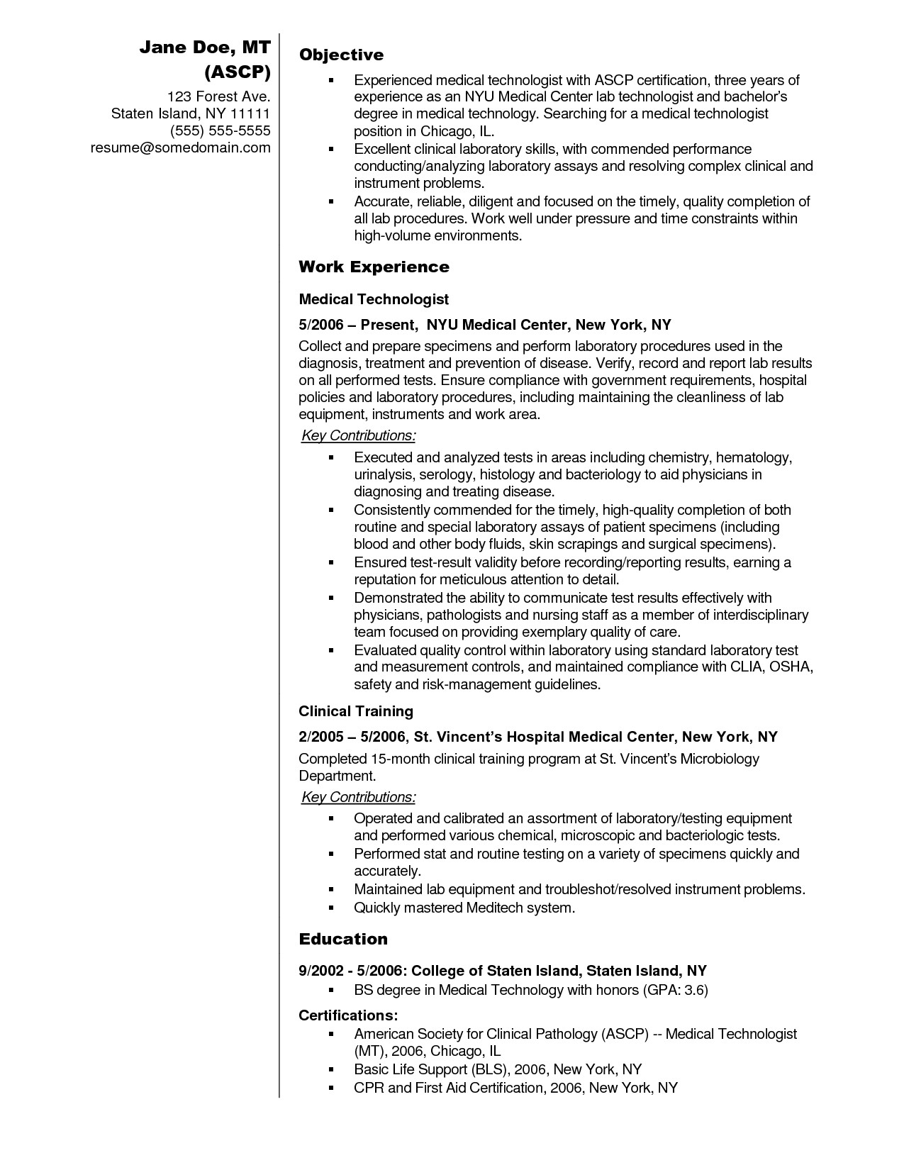 Sample Resume for Medical Technologist In the Philippines Sample Resume Medical Technologist Philippines 2