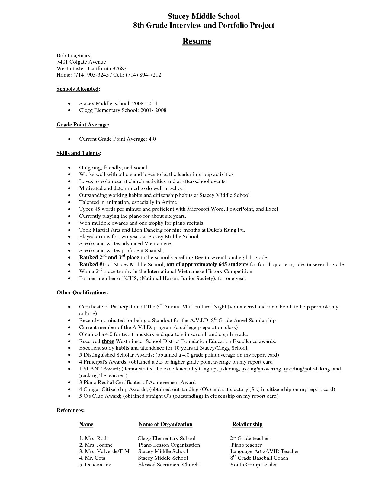 Sample Resume for Middle School Students Junior High School Student Resume