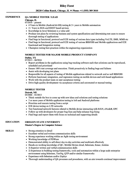 mobile testing resume sample