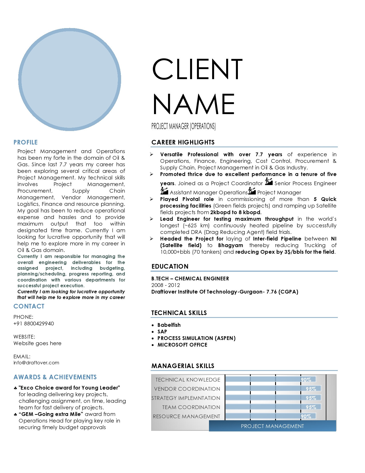 Oil and Gas Sample Text Resume