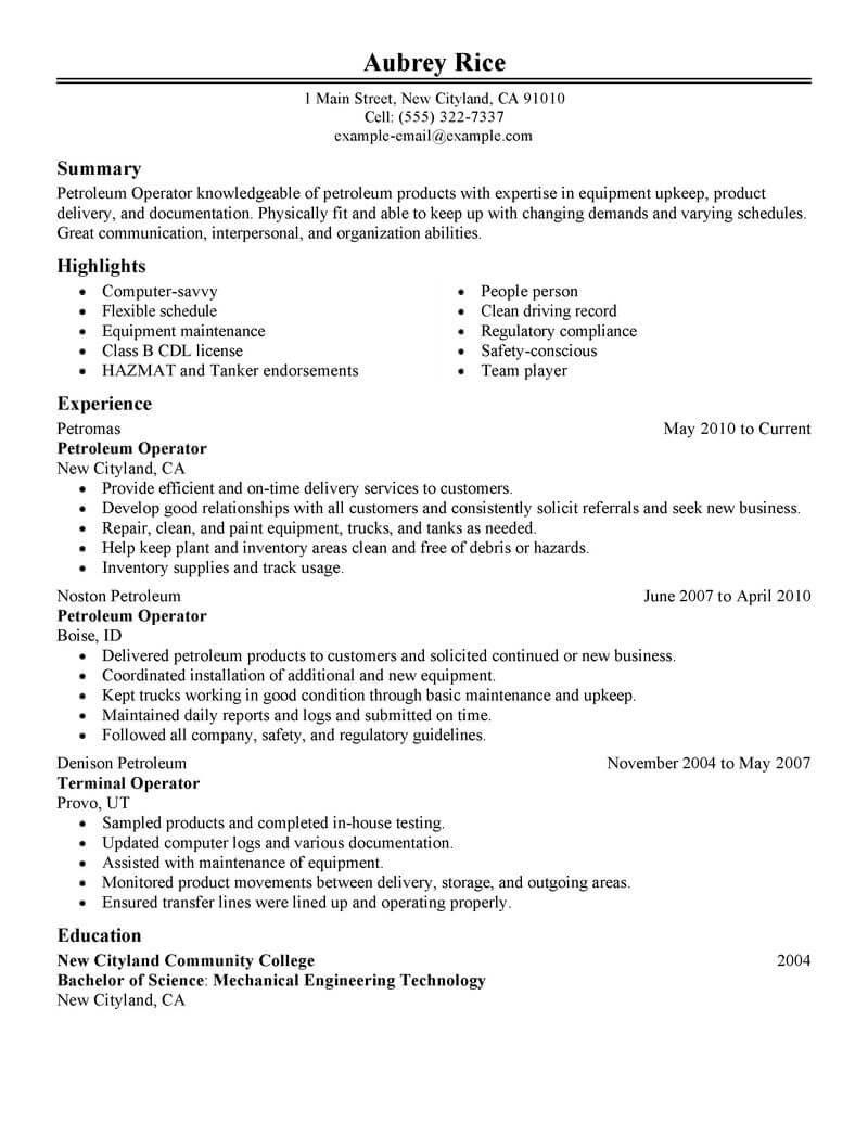 resume sample petroleum industryml