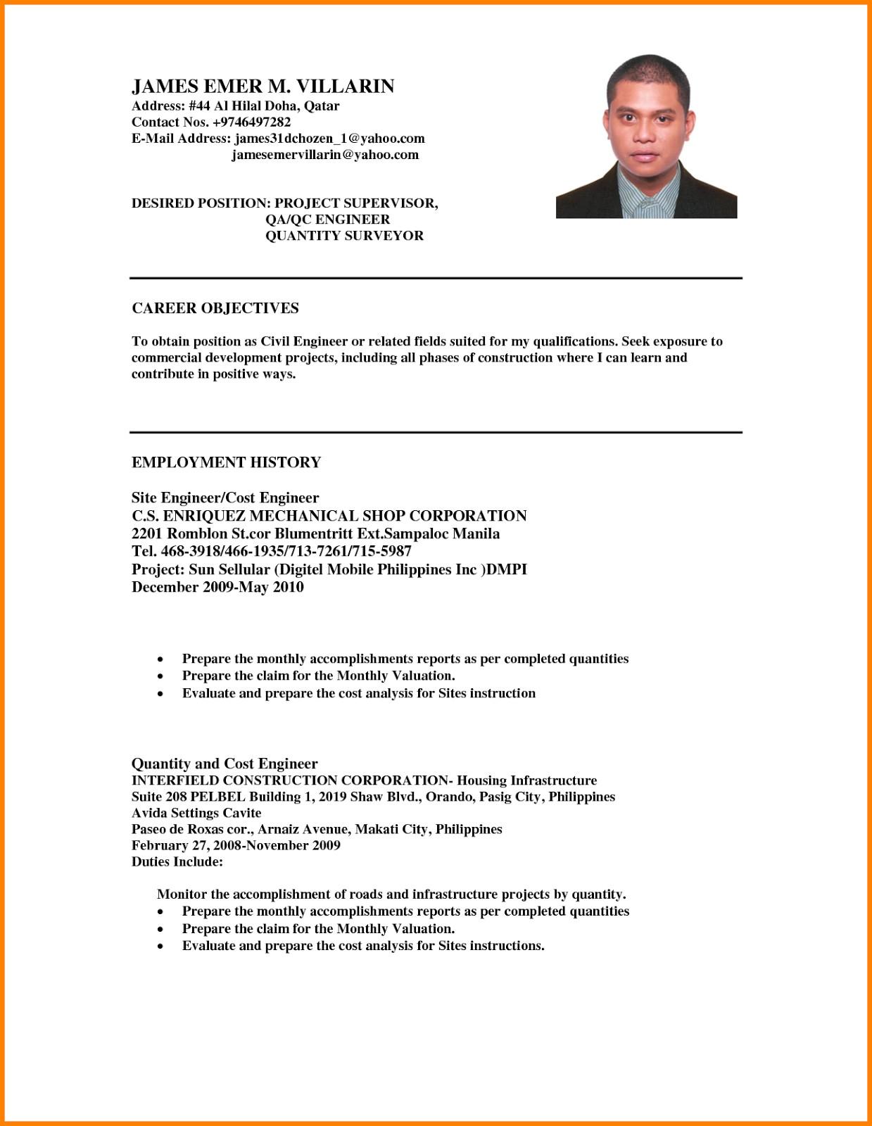 ojt resume sample