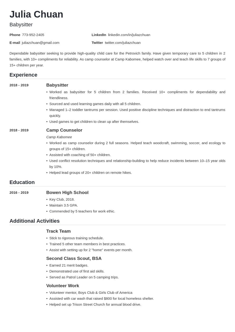 preschool teacher resume sample