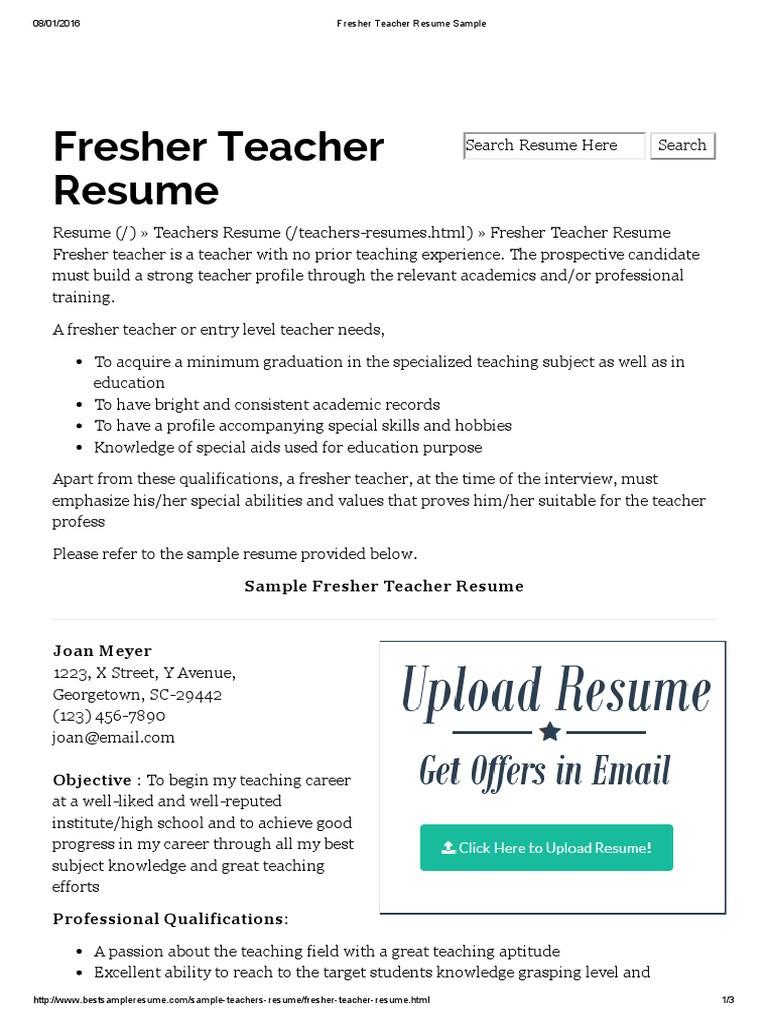 Fresher Teacher Resume Sample