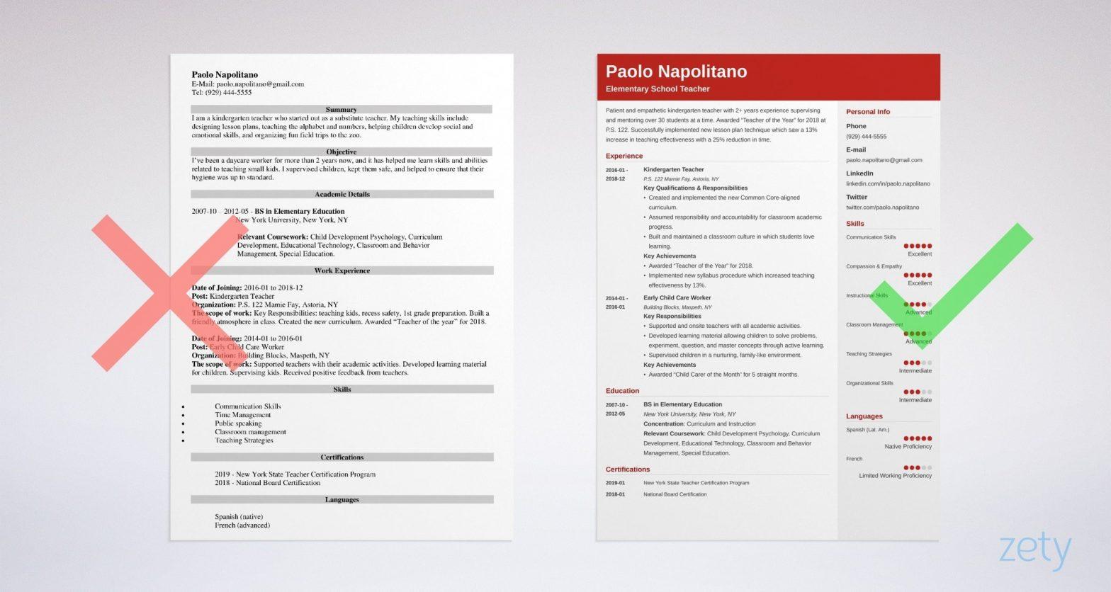 Sample Resume for Primary School Teacher with Experience Elementary School Teacher Resume Examples 2021 [lancarrezekiqskills]
