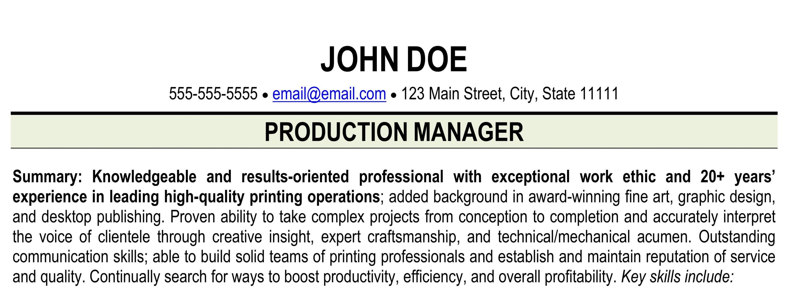 Sample Resume for Print Production Manager Resume for Printing Industry – Print Shop Resume Ihireprinting