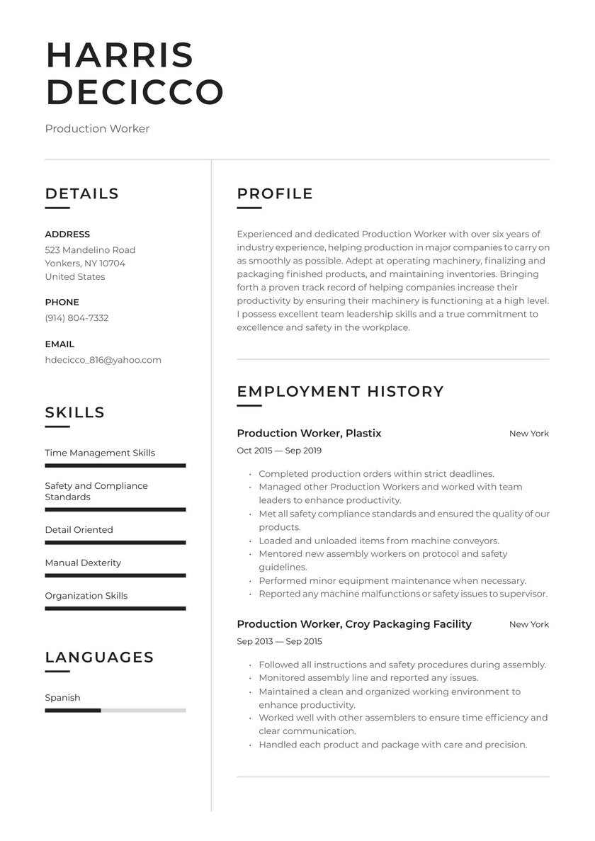 Sample Resume for Production Line Worker Production Worker Resume Examples & Writing Tips 2021 (free Guide)