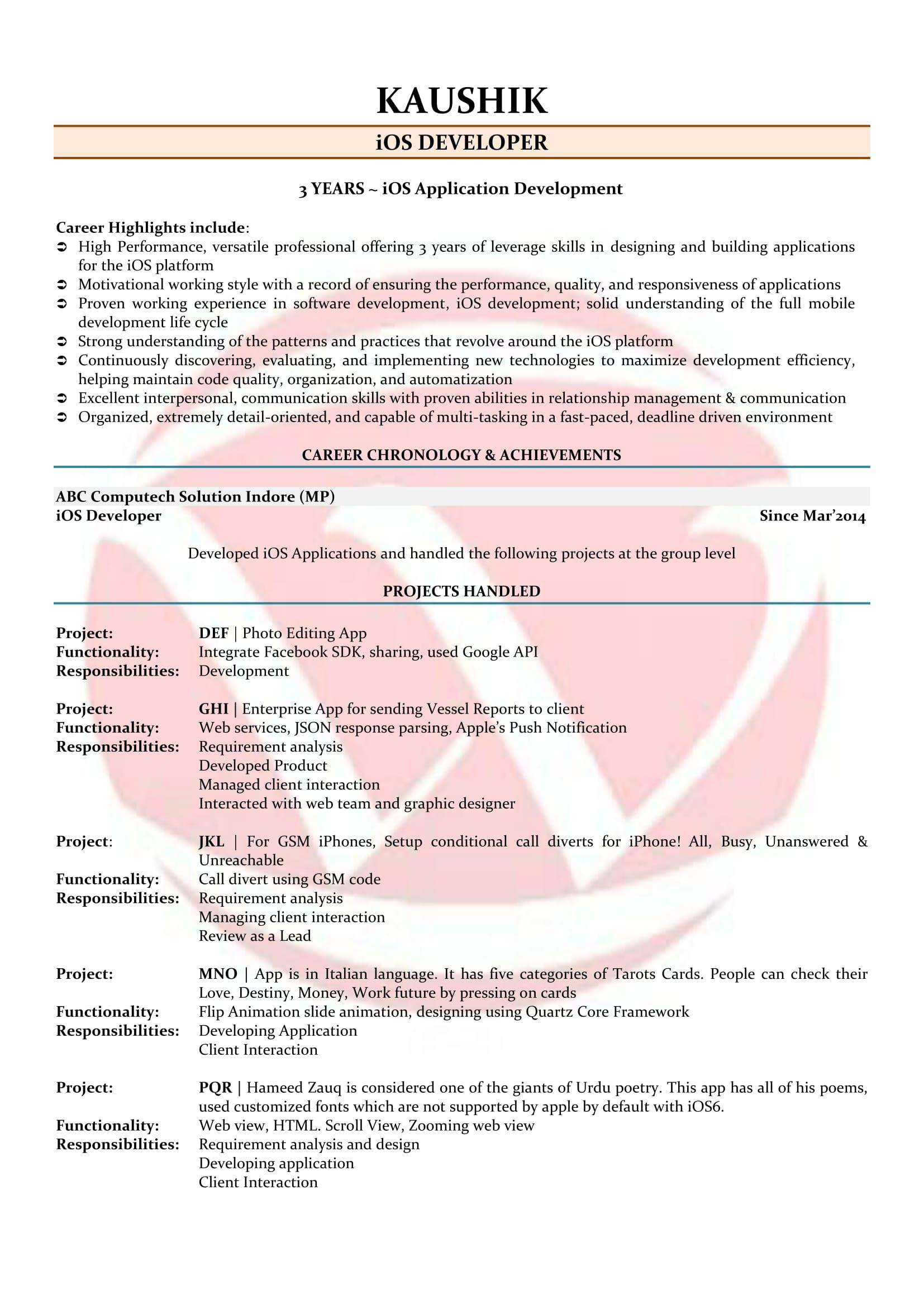 ios developer resume sample format