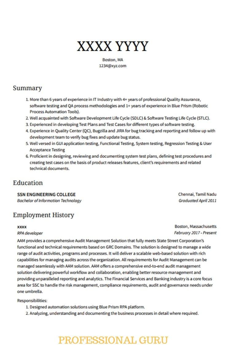 Sample Resume for Rpa Blue Prism Developer Rpa Developer Sample Resume