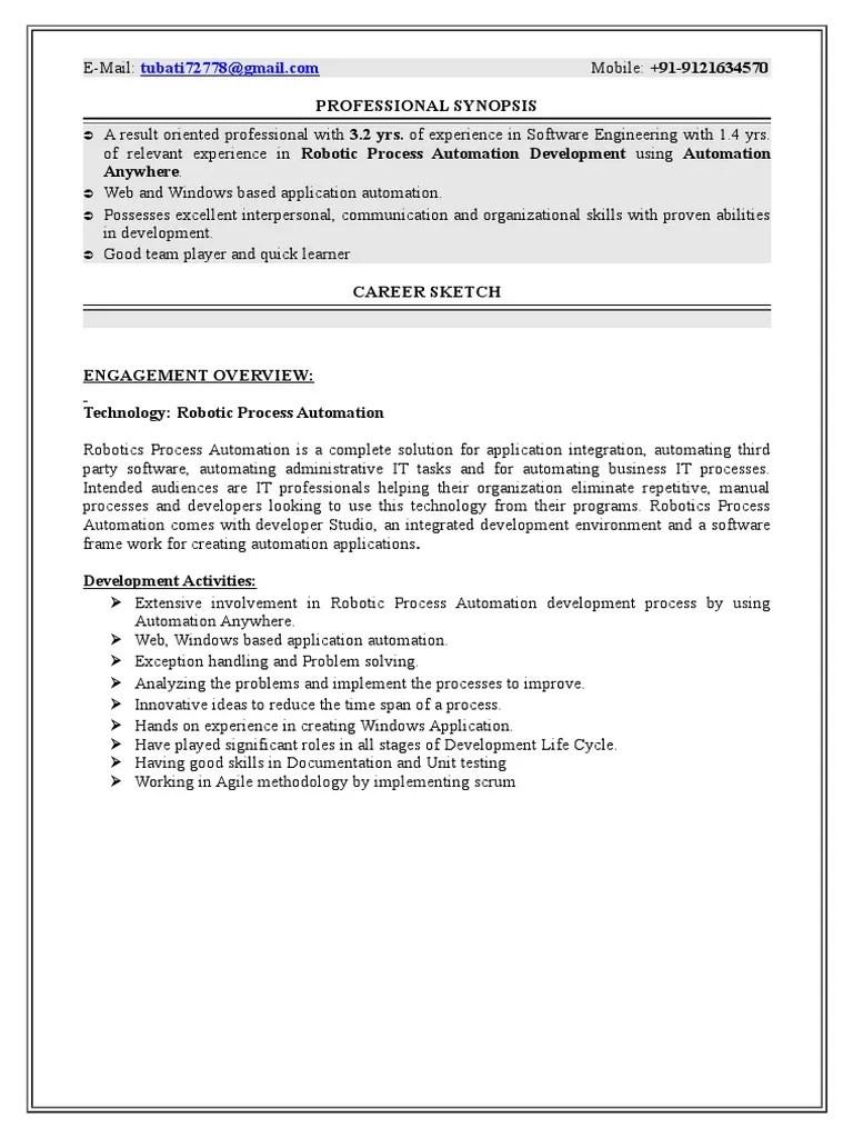 rpa resume samples rpa developer resumeml