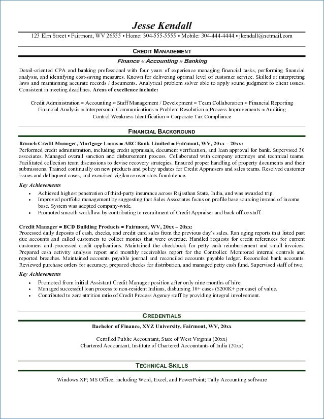 Sample Resume for the Post Of Credit Manager Credit Manager Resume