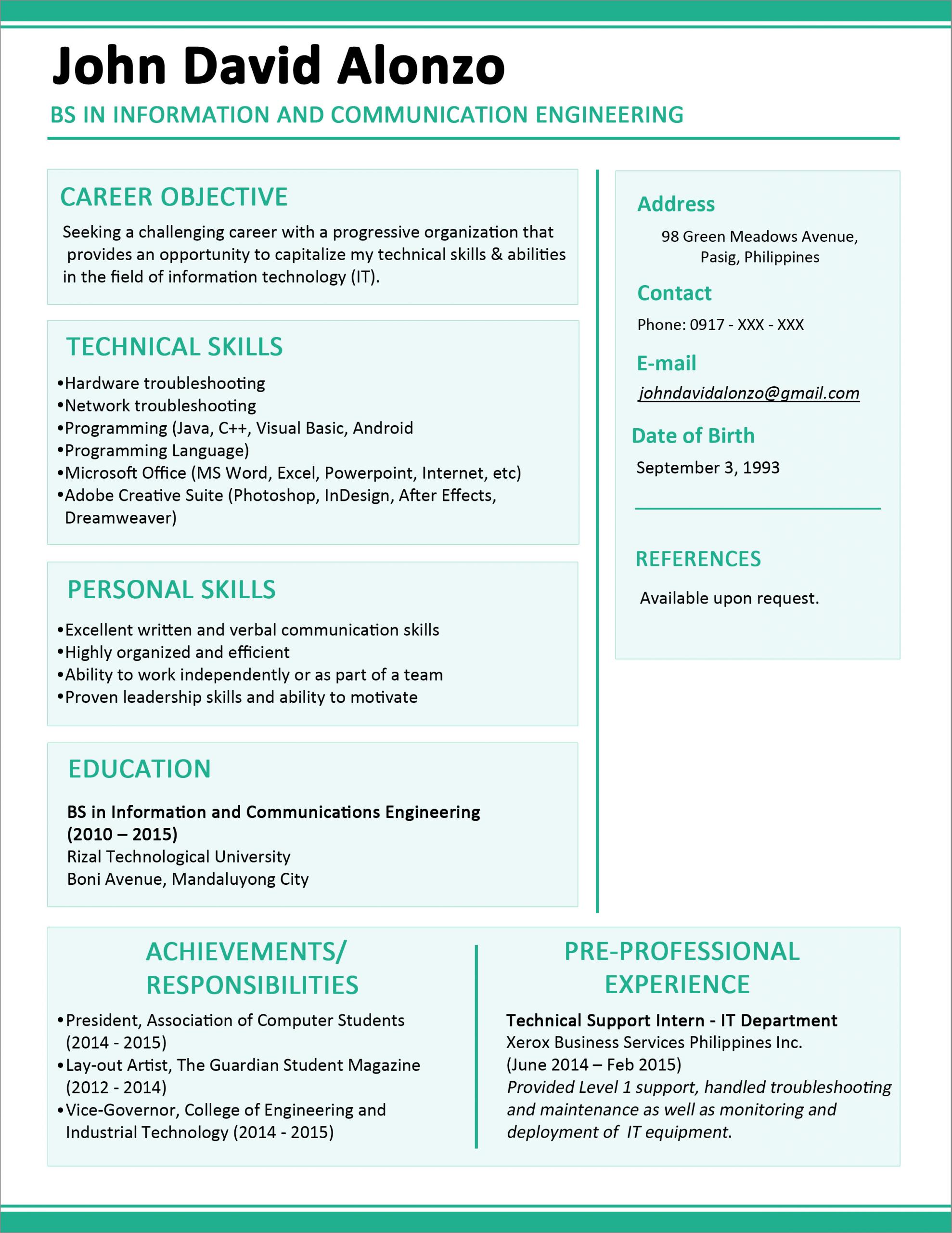 contoh resume fresh graduate malaysia
