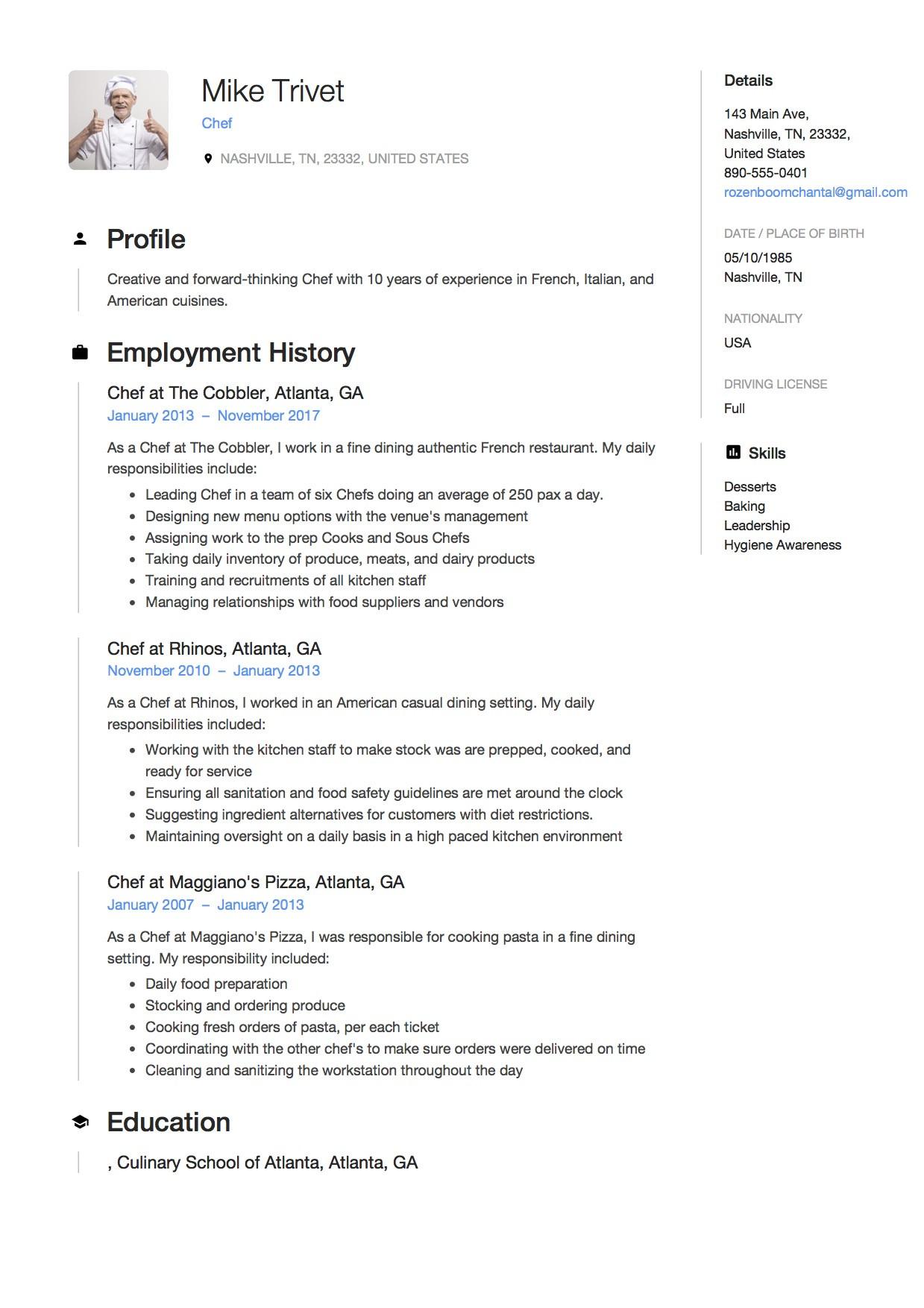 chef resume sample pdfml