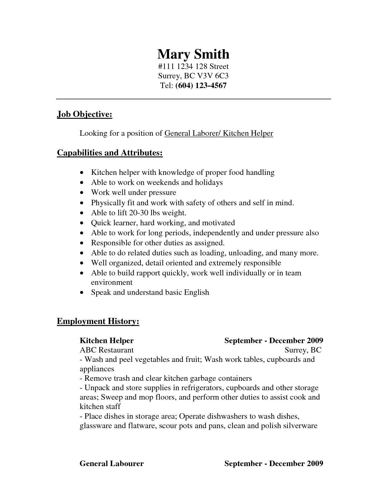 resume for kitchen workml