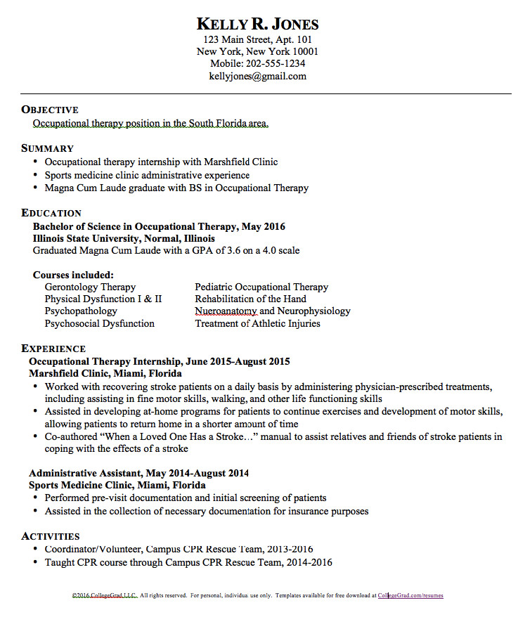 School Based Occupational therapy Resume Sample Occupational therapy Resume Templates