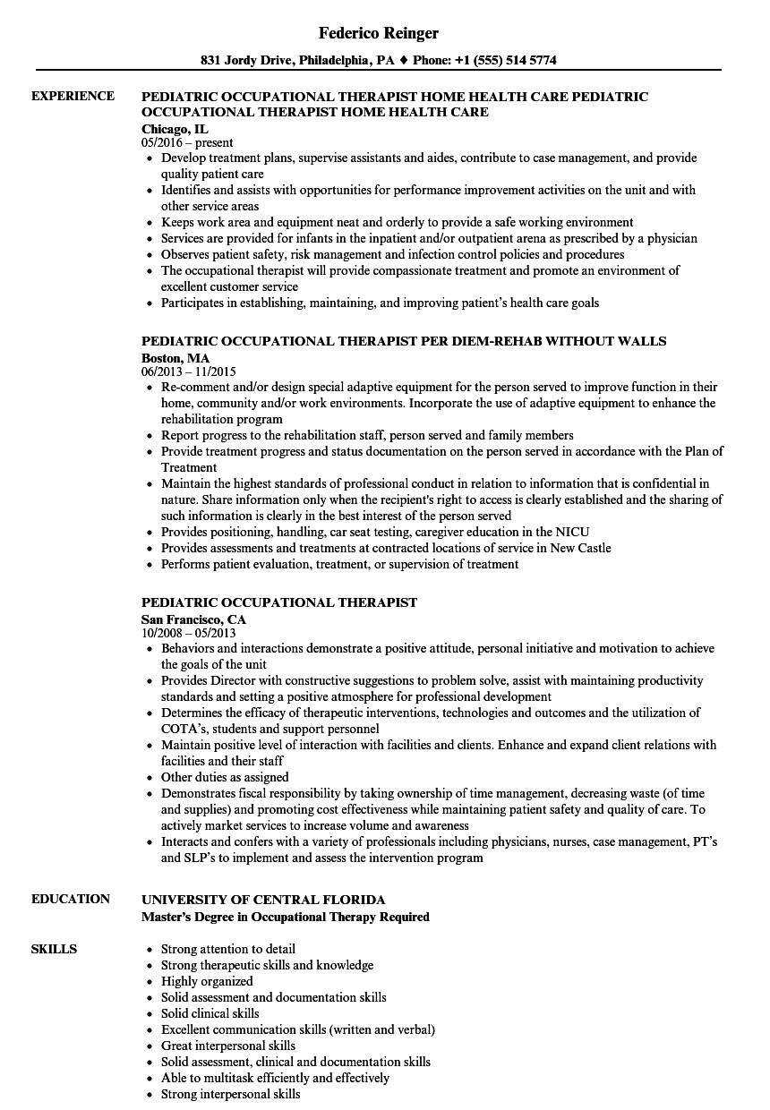 resume for occupational therapy