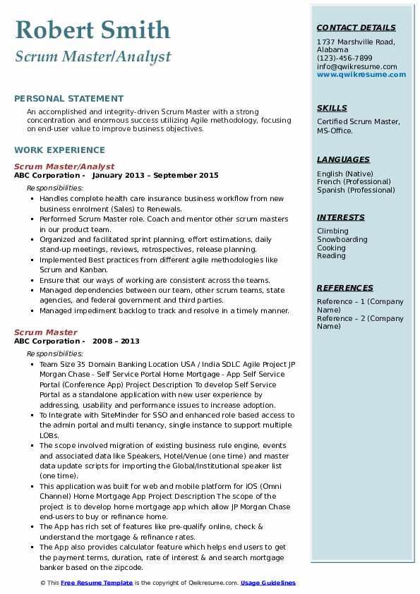 scrum master resume example