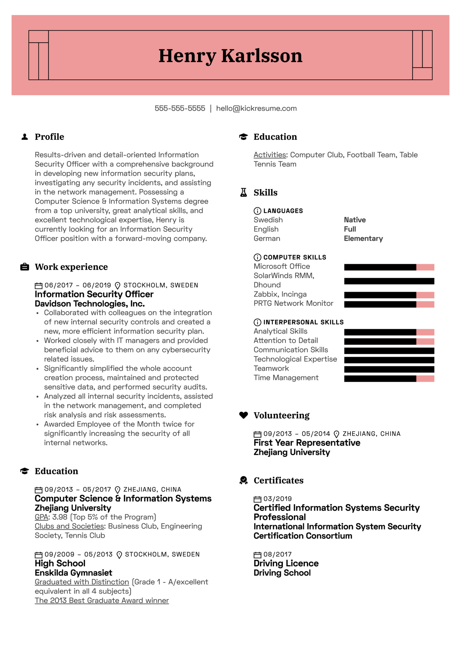 information security officer resume sample