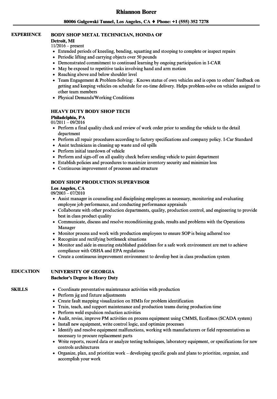 body shop resume sample