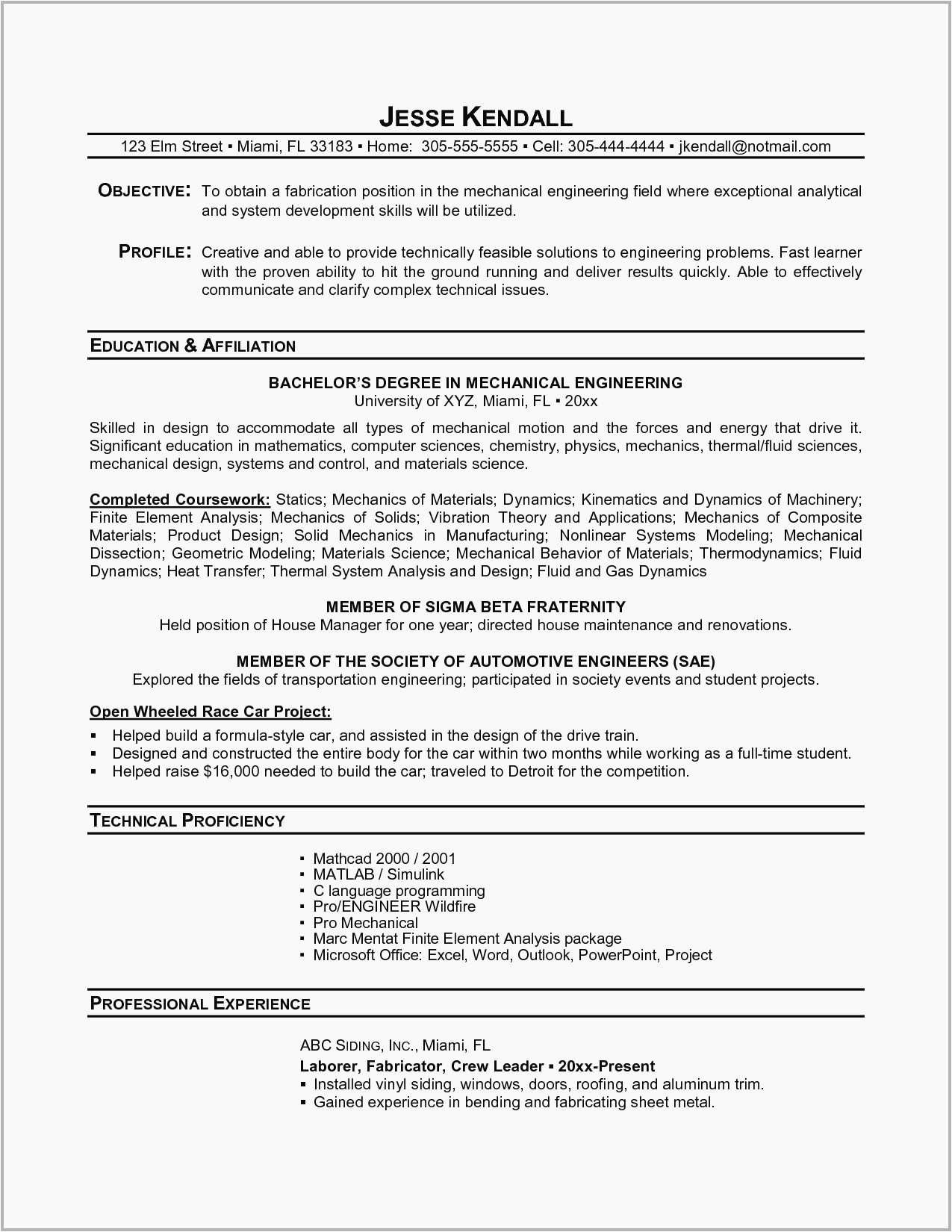 automobile engineer resume