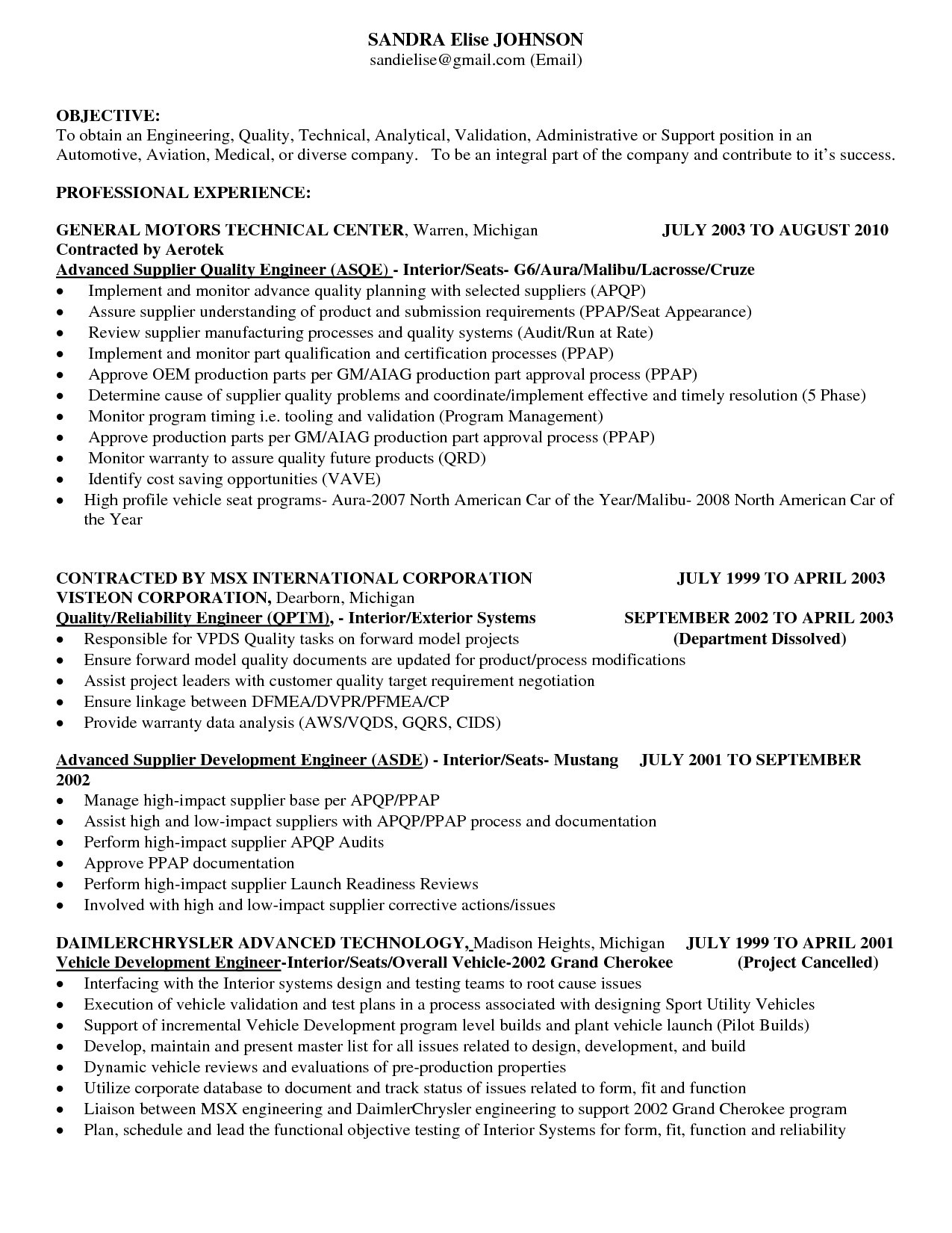 automobile engineer resume pdf