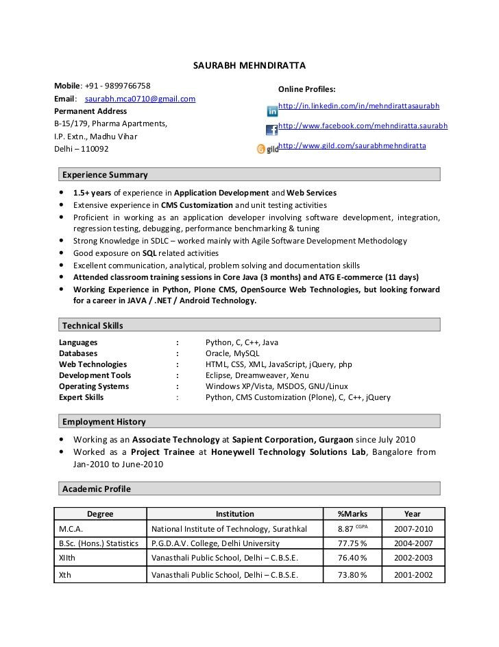 1 year experience resume format database