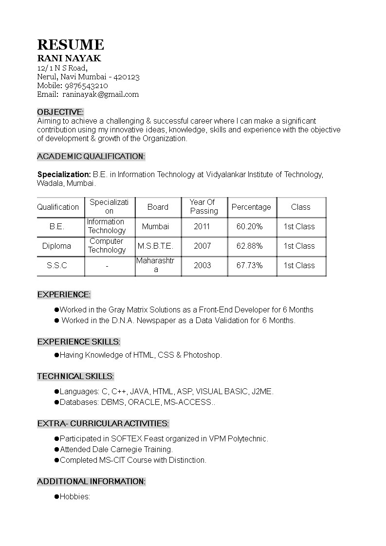 Aws Sample Resume for 1 Year Experience 1 Year Experience Resume format