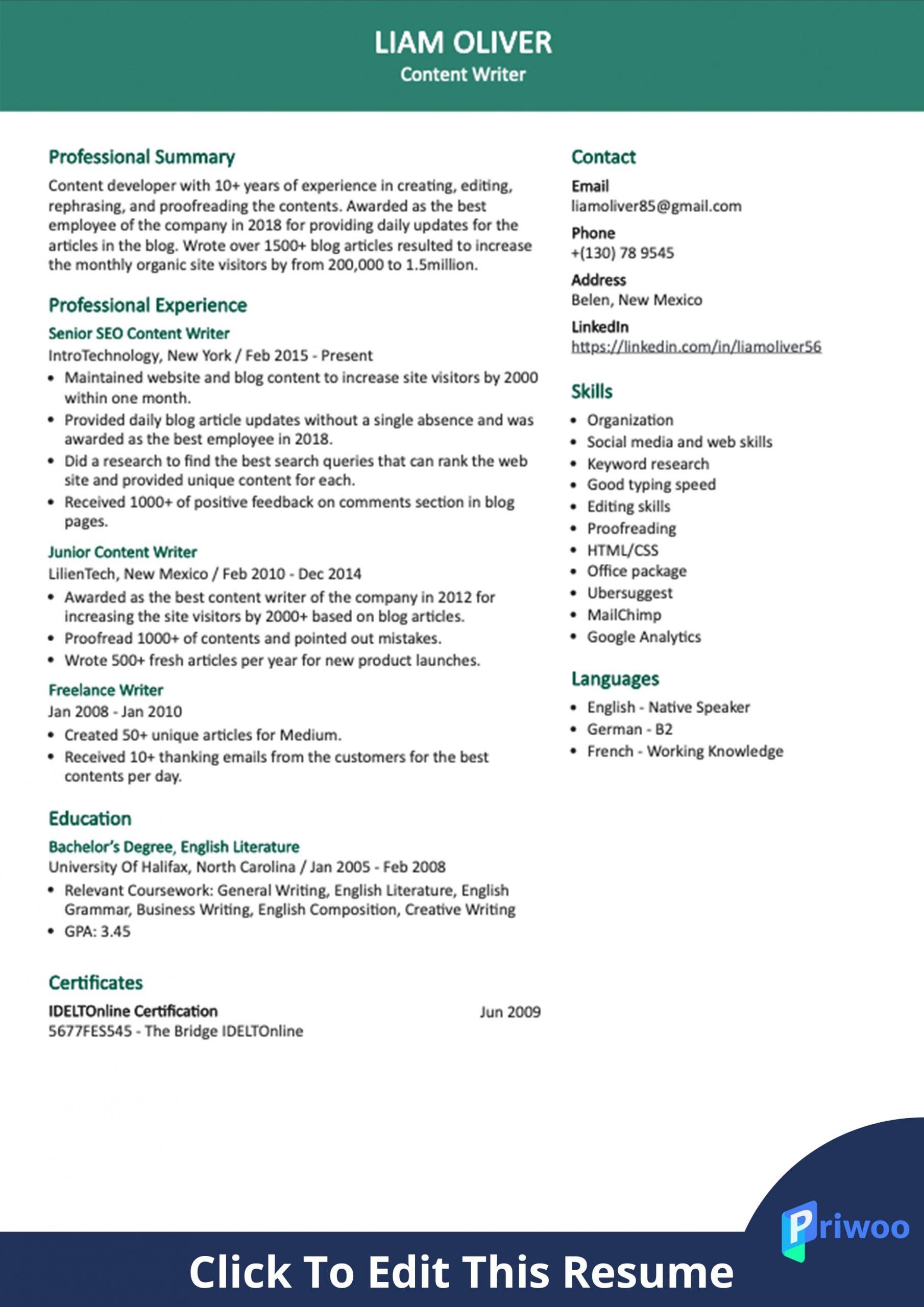 content writer resume sample