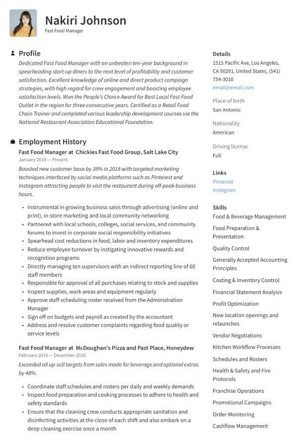 Fast Food assistant Manager Resume Sample Fast Food assistant Manager Resume