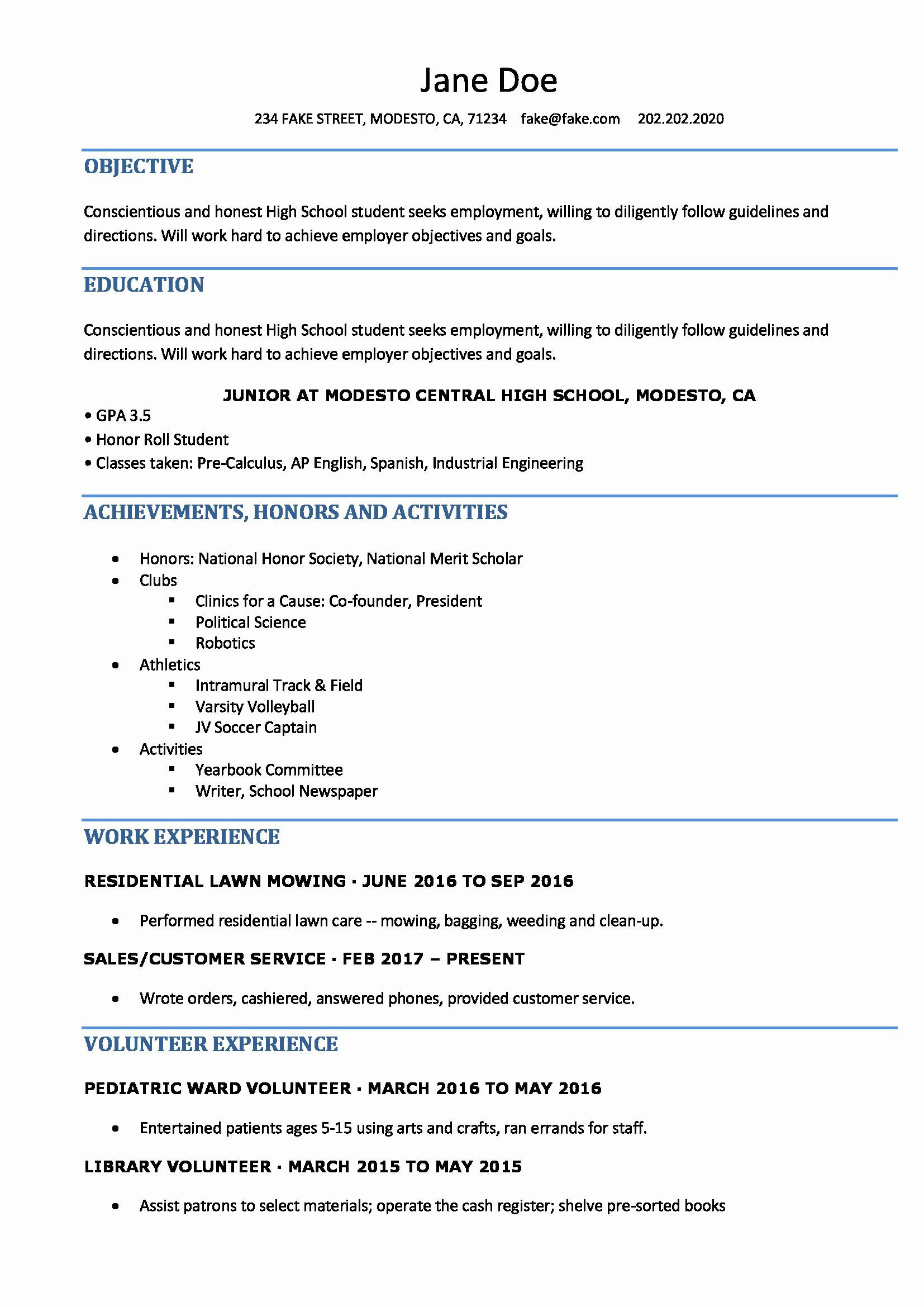 objective in resume sample for students