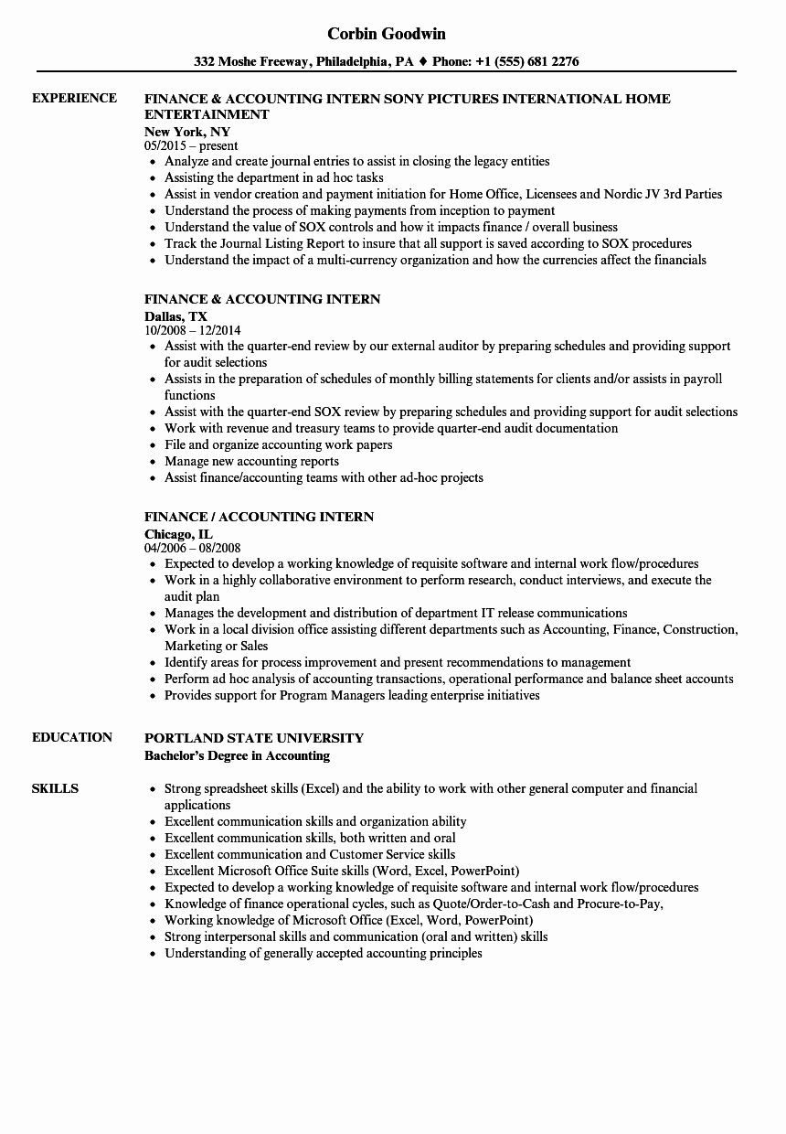 Internship Sample Resume for Accounting Students Business Analyst Intern Resume Best Of Accounting Student Resume ...