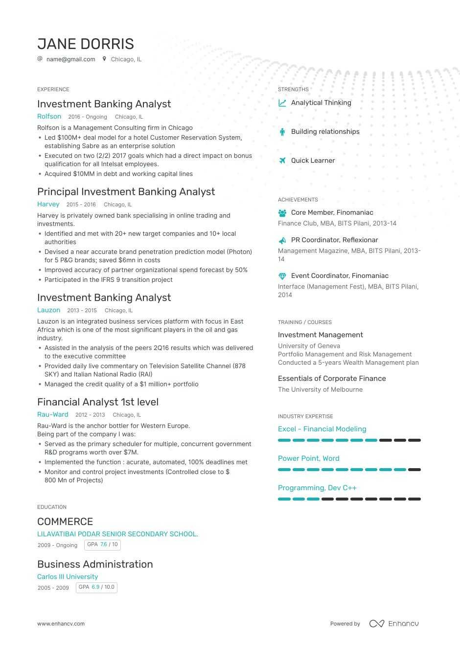 Investment Banking Business Analyst Sample Resume Investment Banking Analyst Resume: 8-step Ultimate Guide for 2021 ...