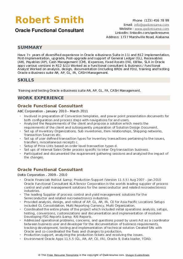 Oracle Scm Functional Consultant Resume Sample oracle Functional Consultant Resume Samples