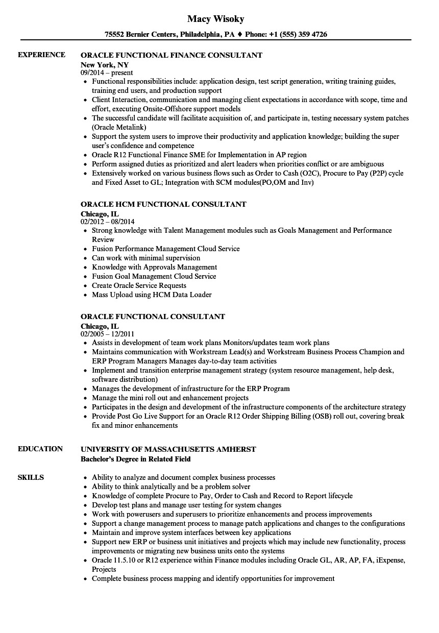 oracle functional consultant resume sample
